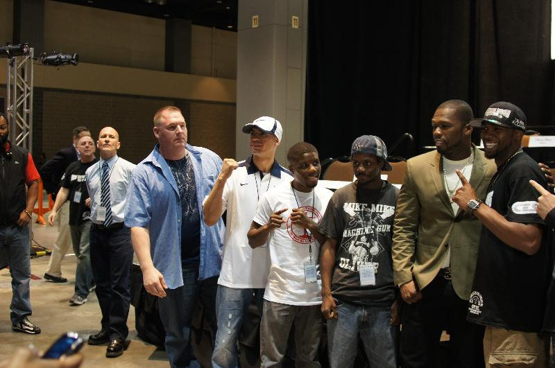 (L-R) Mike Criscio, Oscar Diaz, Nate Green, Mike Oliver, 50 Cent and Jimmy Williams