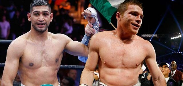 Canelo Alvarez and Amir Khan in ring