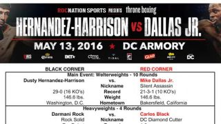Hernandez-Harrison vs Dallas Jr Bout Sheet excerpt