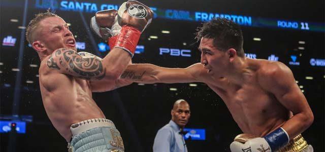 Carl Frampton vs Leo Santa Cruz in action