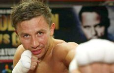Gennady Golovkin posed in ring