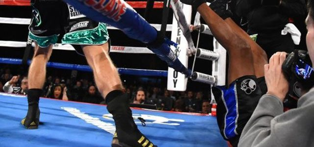 Smith knocks Hopkins out of ring
