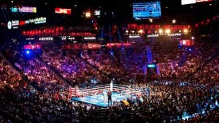 Wide shof of boxing ring and fans in Las Vegas