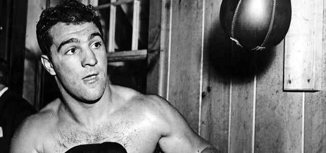 Rocky Marciano with speed bag