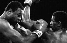 Larry Holmes and Michael Spinks black and white photo