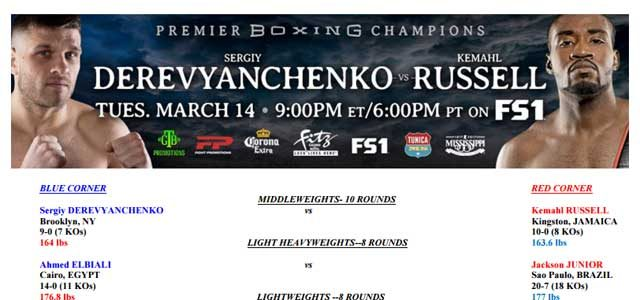 Bout Sheet header for Derevyanchenkov vs Russell