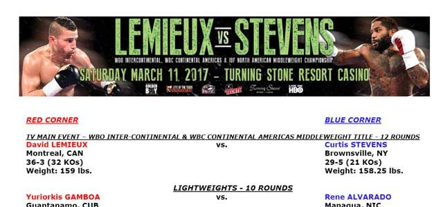 Bout Sheet for Lemieux vs Stevens