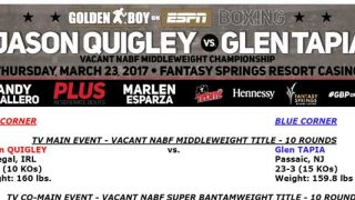 Quigley vs Tapia Bout Sheet