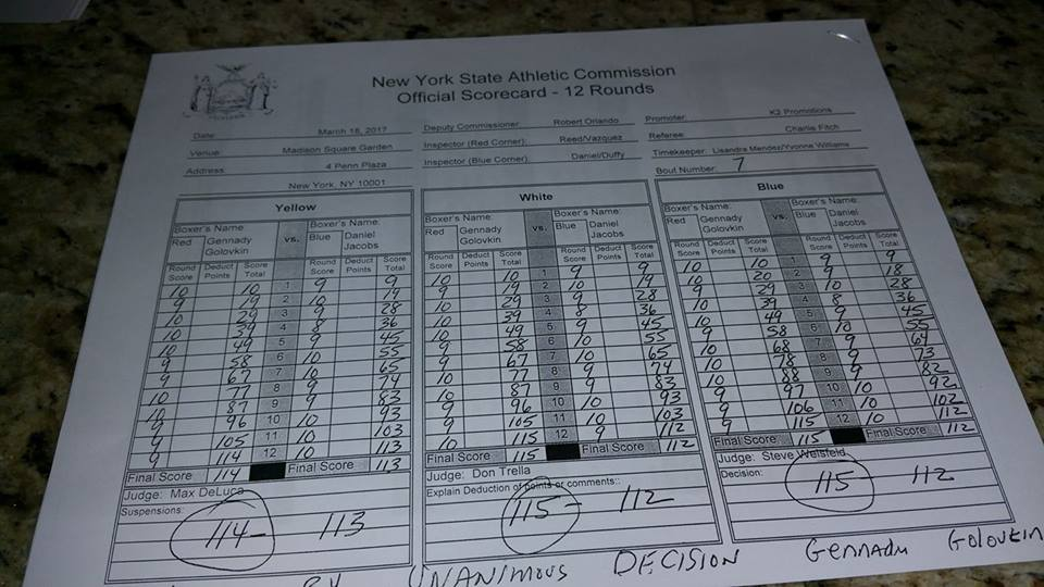 Golovkin vs Jacobs Scorecard