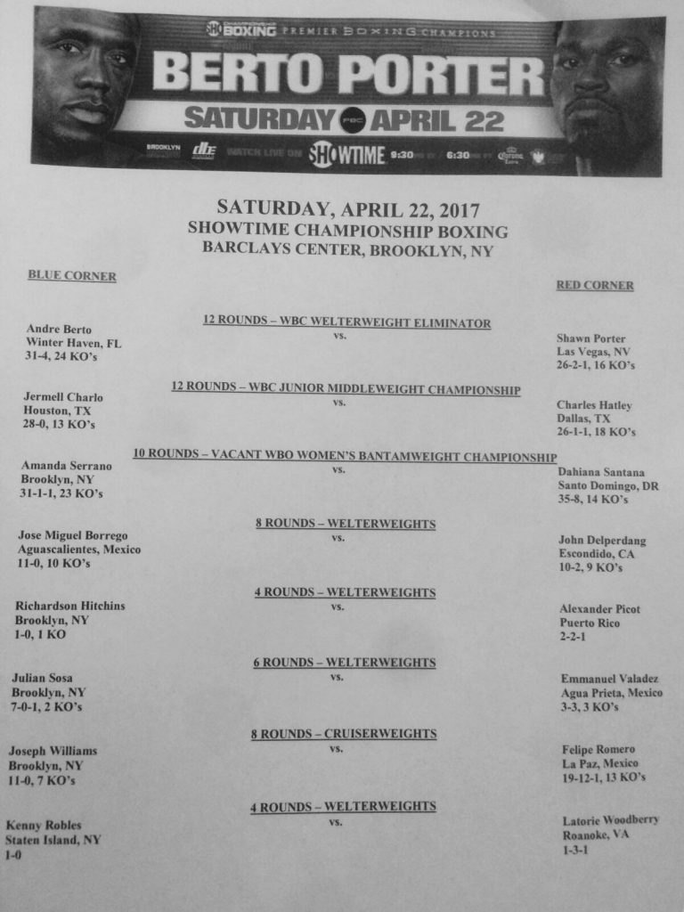 Bout Sheet Berto vs Porter