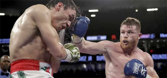 Canelo Alvarez hits Julio Chavez Jr 2017