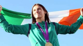 Katie Taylor with Irish flag