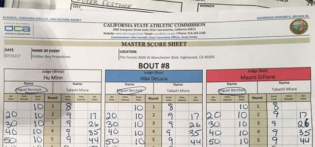 scorecard Amateur boxing