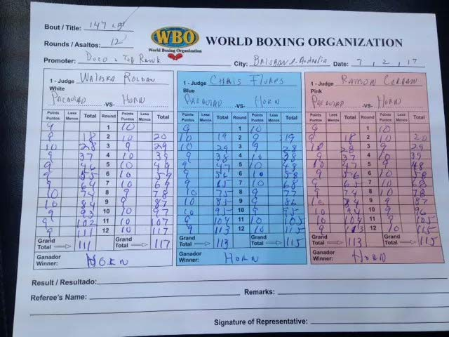Official Scorecard for Pacquiao vs Horn