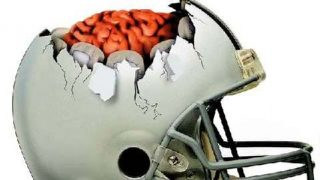 Football helmet and brain