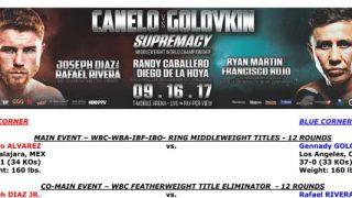 Bout Sheet: Canelo Alvarez vs Gennady Golovkin