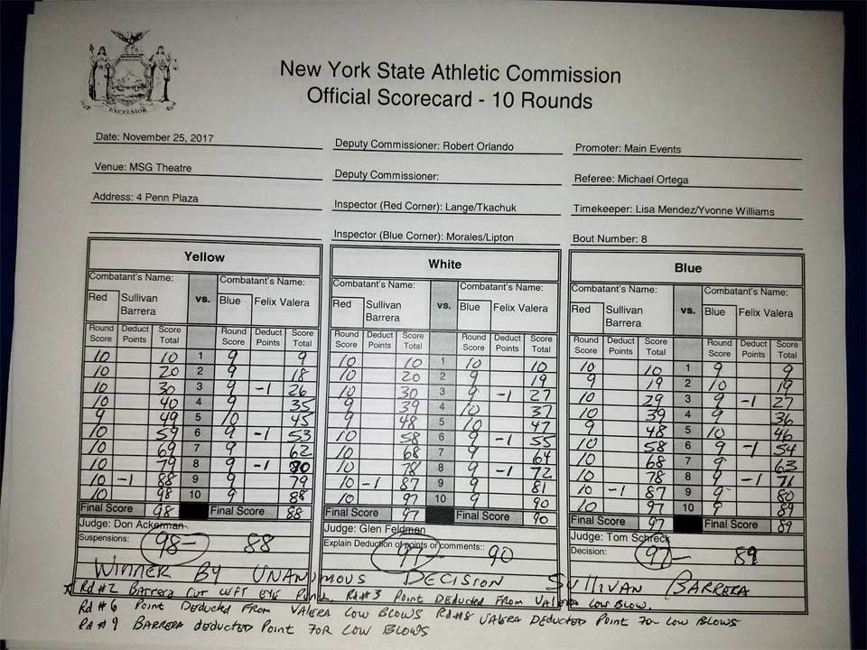Official Scorecard: Sullivan Barrera vs Felix Valera