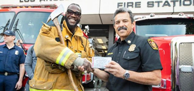 Deontay Wilder visits with LA Firefighter