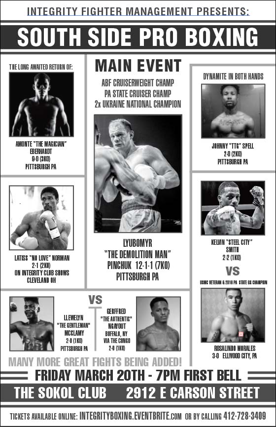 March 20th South Side Pro Boxing Event