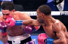 Errol Spence Jr lands a punch on Danny Garcia
