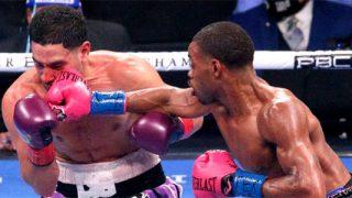 Errol Spence Jr lands a punch on Danny Garcia